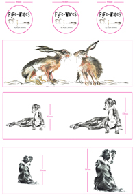 Hare, Collie, Greyhound decal visuals