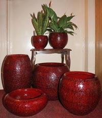 Coloured terracotta vases