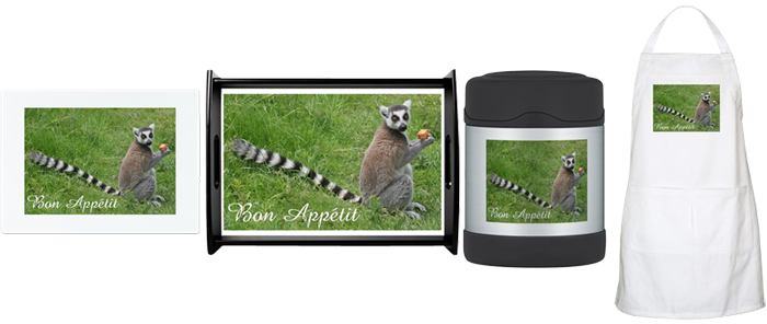 Cafepress Shop - ring-tailed lemur wishing you Bon Appétit