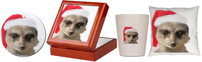 Cafepress Shop - Meerkat portrait with Santa hat