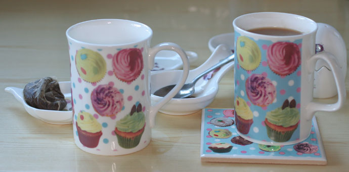Digital ceramic decals on mugs