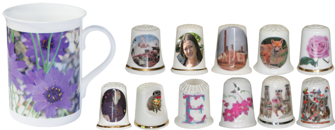 Digital ceramic decals on mug and thimbles