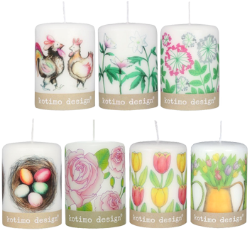 Candles decorated with organic decals