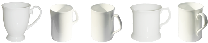 White bone china mugs