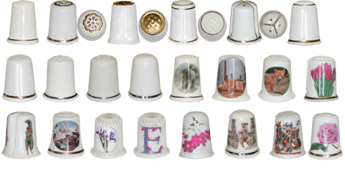 White bone china thimbles