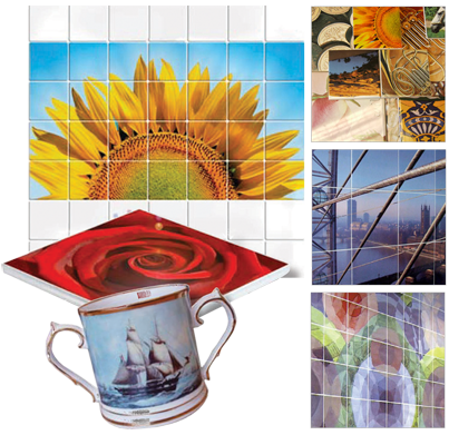 Tile murals and mug