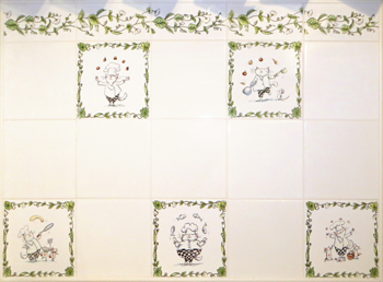 wall tiles decorated with decals