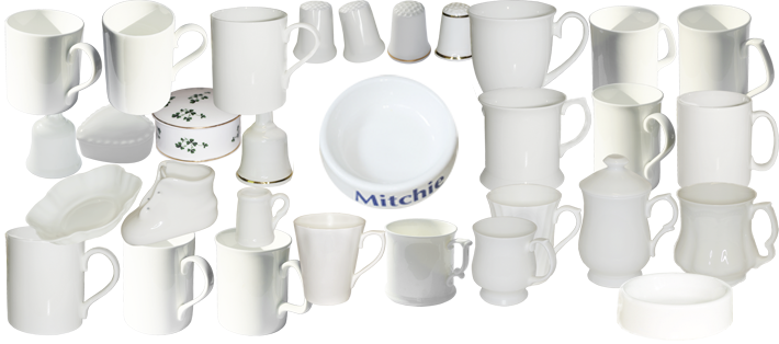 Blank white bone china whiteware