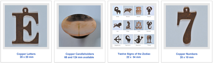 Copper shapes for jewellery-making